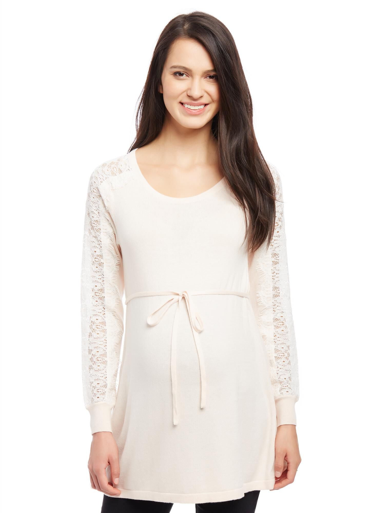 Lace Sleeve Maternity Sweater