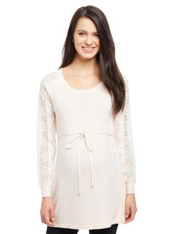 Lace Sleeve Maternity Sweater, Silver Peony