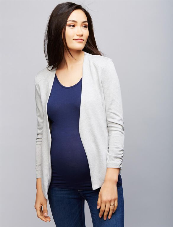 Open Front Maternity Jacket, Grey Stripe