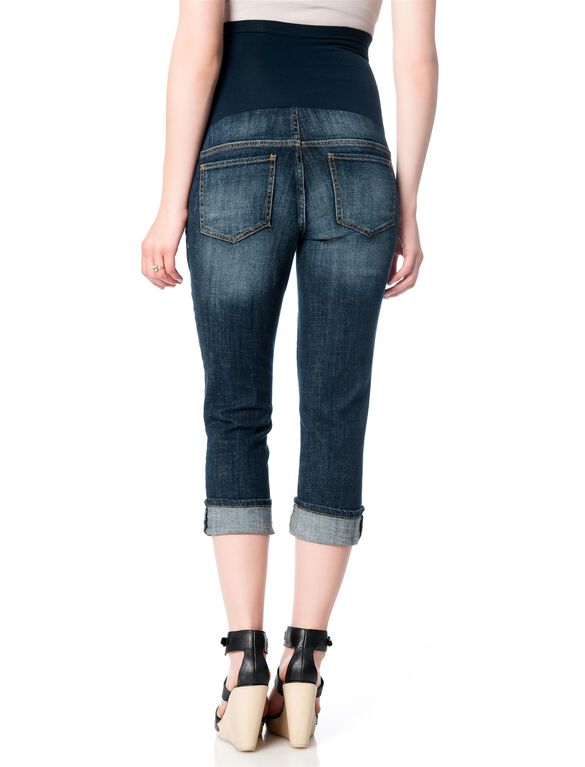 Indigo Blue Secret Fit Belly Cuffed Maternity Crop Jeans, Dark Wash