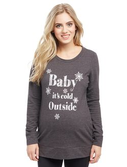 Baby It's Cold Outside Maternity Sweatshirt, Charcoal