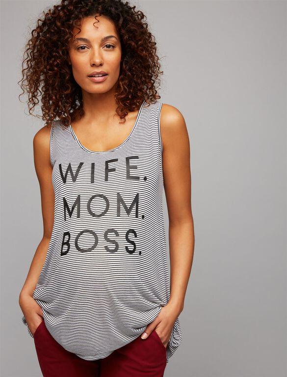 Wife. Mom. Boss. Maternity Tank, Black/White Stripe