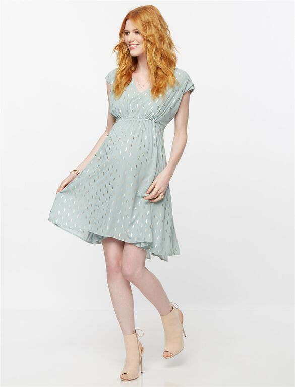 Sleeveless Metallic Dot Maternity Dress- Fog/Gold, Lake Fog