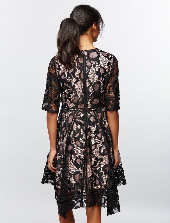 Taylor Lace Hanky Hem Maternity Dress, Black/Pink Lace