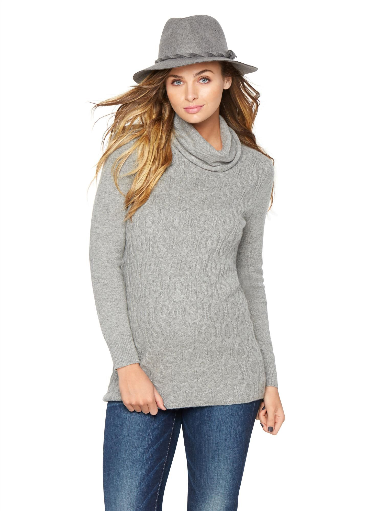 Quinn Cable Cotton Cashmere Turtleneck Maternity Sweater