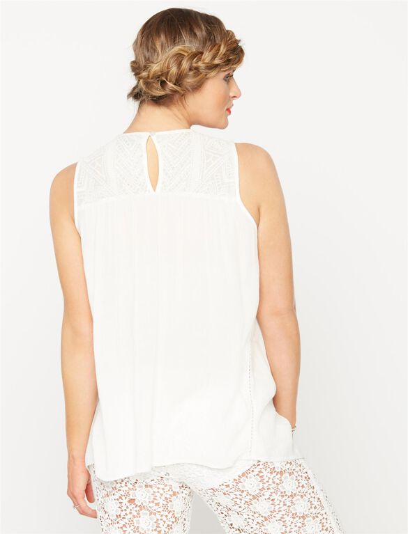Embroidery Maternity Tank Top, White