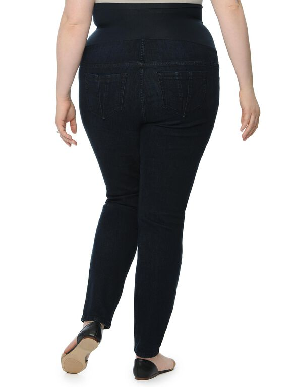 Plus Size Petite Secret Fit Belly Skinny Leg Maternity Jeans, Dark Wash