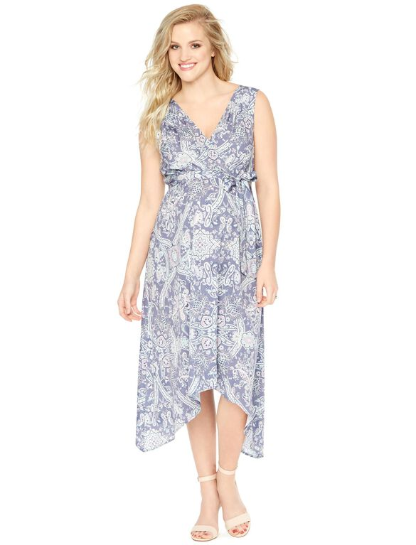 Sleeveless Hanky Hem Maternity Dress, Blue Paisley