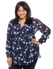 Plus Size Side Tie Maternity Tunic, Navy Floral