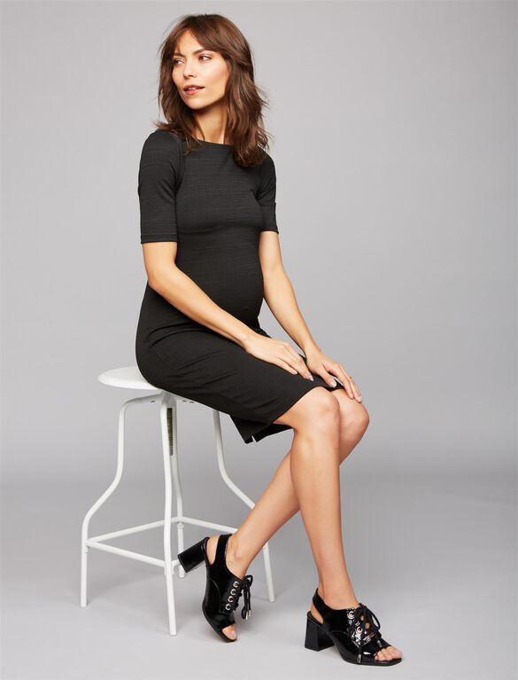 Bodycon Maternity Sheath Dress- Black, Black