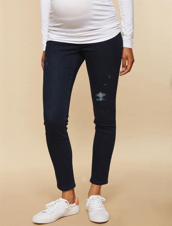 Under Belly Skinny Leg Maternity Ankle Jeans, Dark