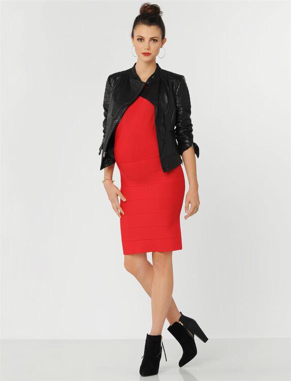 BCBGMAXAZRIA V Back Maternity Dress, Red Berry