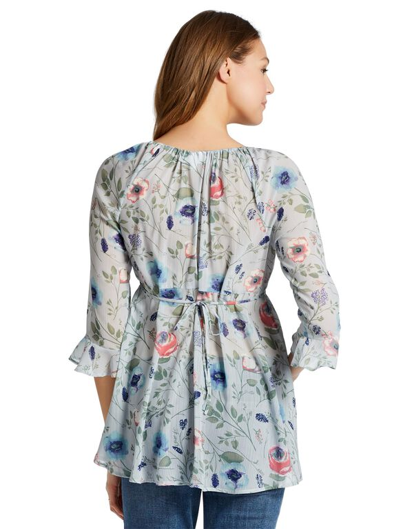 Jessica Simpson Ruffled Maternity Blouse, Blue Floral