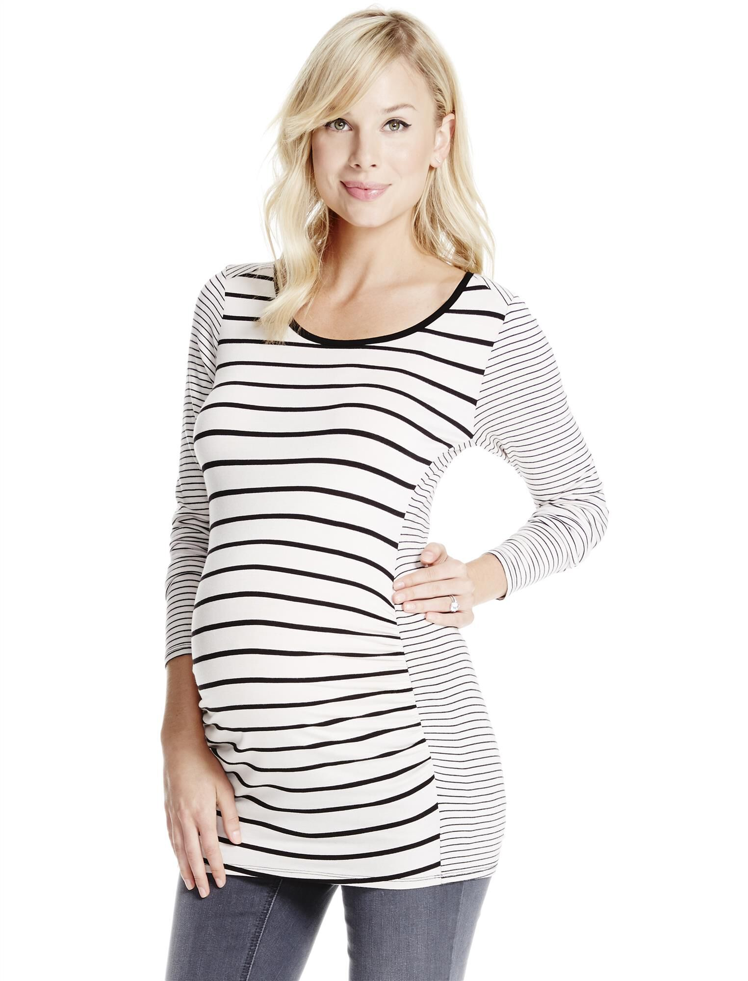 Jessica Simpson Zipper Detail Maternity Top- Black/White