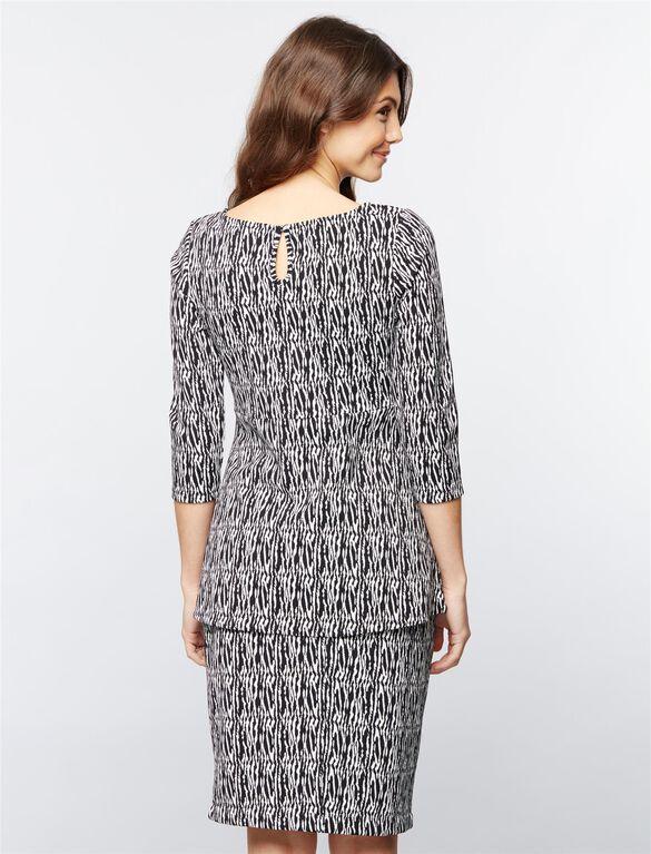 Jacquard Peplum Maternity Shirt, Multi Print