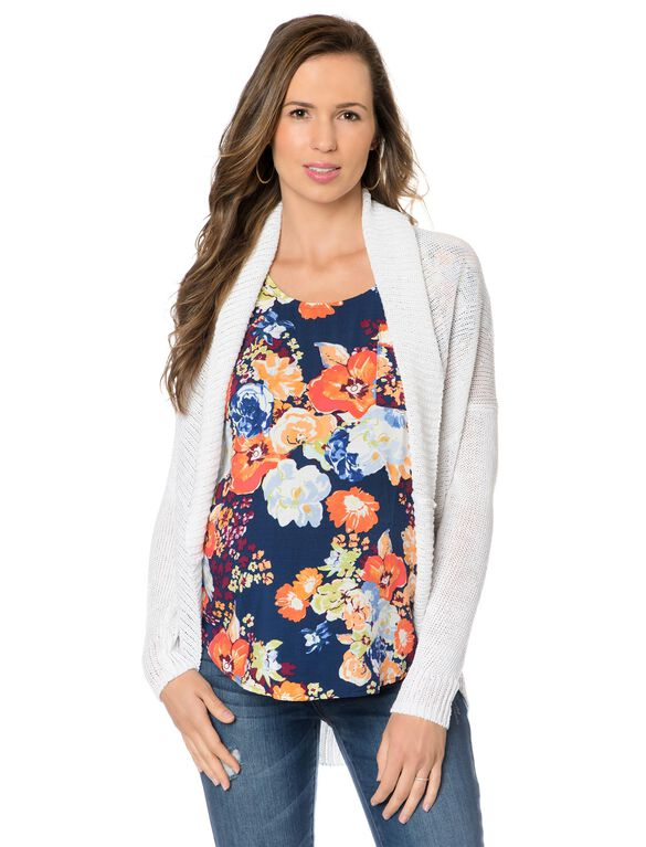 Lightweight Maternity Cardigan- White, White