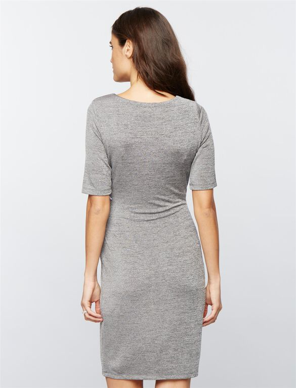 Side Ruched Maternity Dress, Charcoal