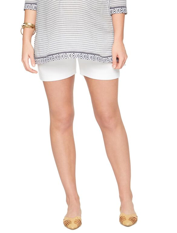 Secret Fit Belly Sateen Maternity Shorts- White, White