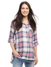 High-low Hem Maternity Tunic, Pink Plaid