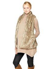 Olive & Oak Faux Fur Maternity Vest, Brown