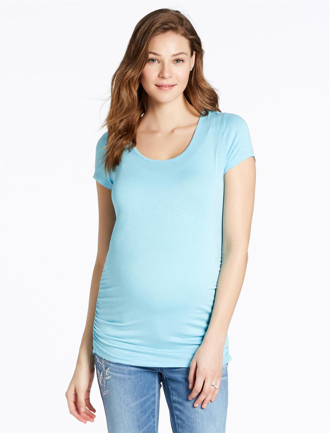 Jessica Simpson Cross Back Maternity Tee- Light Blue at Motherhood Maternity in Victor, NY | Tuggl
