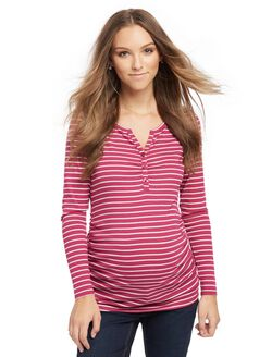 Henley Maternity T Shirt- Pink/White Stripe, Pink/White Stripe