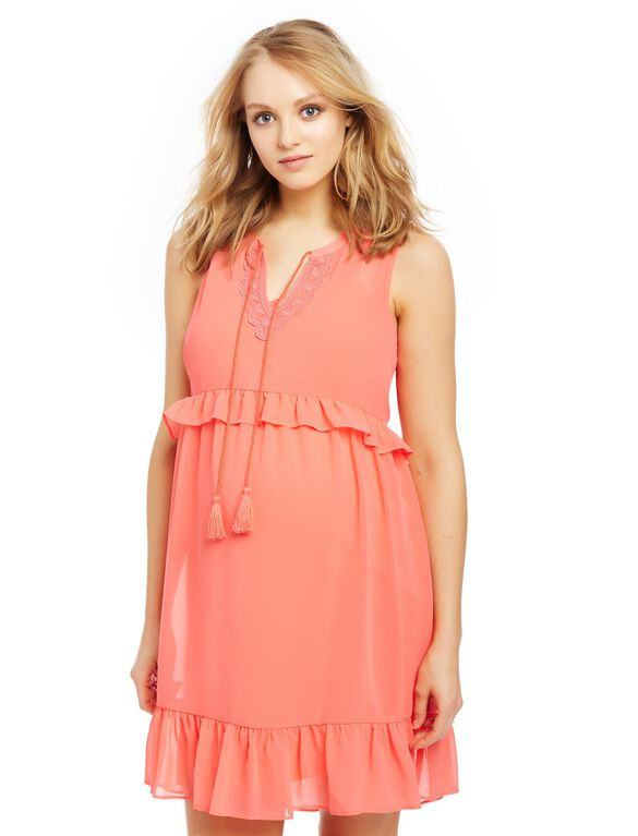 Tassel Detail Ruffled Maternity Dress, Coral