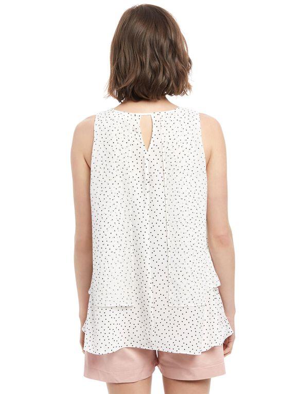 Layered Maternity Blouse, White Dot