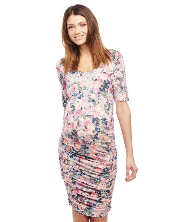 Side Ruched Maternity Dress, Light Floral Print