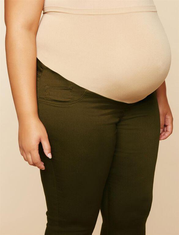 Plus Size Secret Fit Belly Twill Skinny Leg Maternity Pants, OLIVE