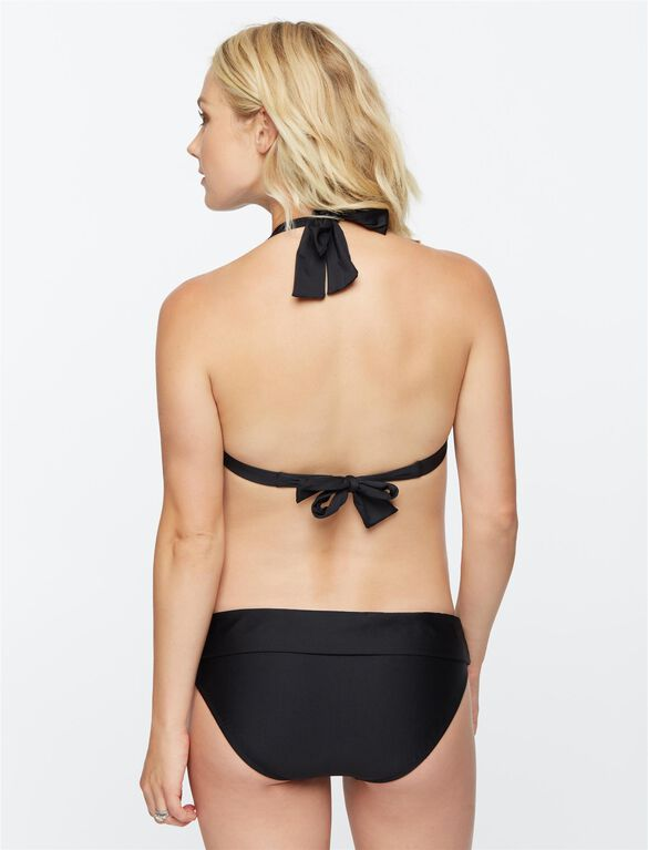 Halter Maternity Bikini Swimsuit, Black/White Print
