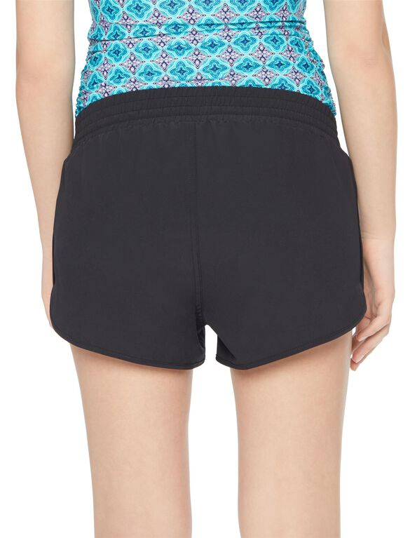 Tie Front Maternity Board Shorts, Black