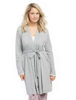 Bump In The Night Tie Front Nursing Robe- Heather Grey, Heather Gray