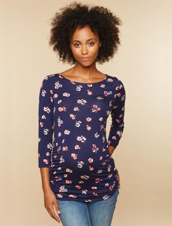 Sleeve Side Ruched Maternity Tee- Floral, Navy Pink Floral