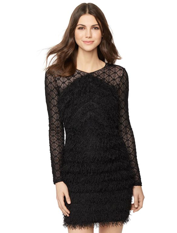 BCBGMAXAZRIA Feathered Hem Maternity Dress, Black