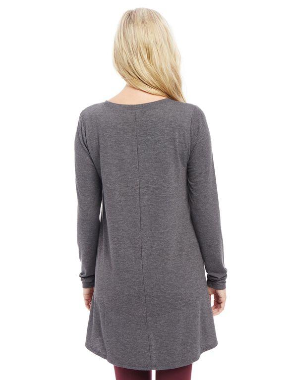 Long Sleeve Rib Knit Hem Maternity Tunic, Grey
