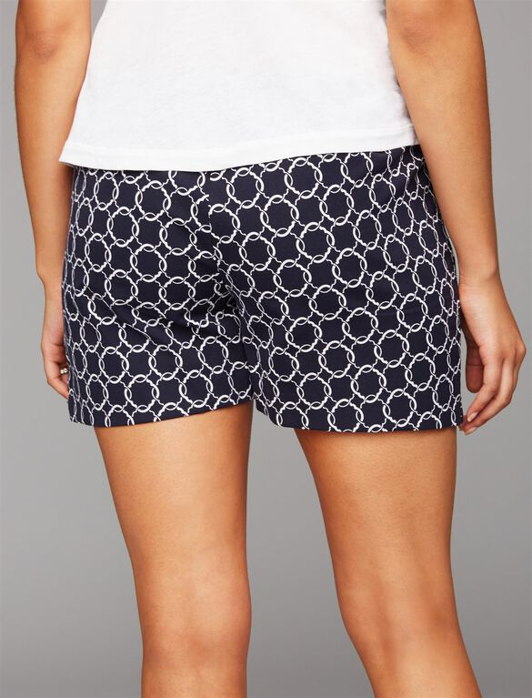 Secret Fit Belly Tailored Maternity Shorts, Navy Geo Print