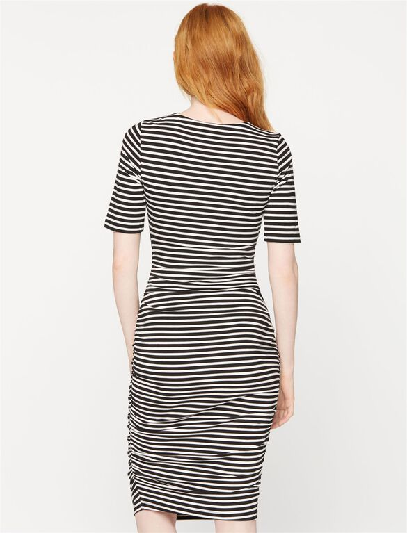 Elbow Sleeve Stripe Maternity Dress, Soft White/Black