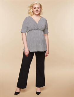 Plus Size Tech Twill Boot Cut Maternity Pants, Black