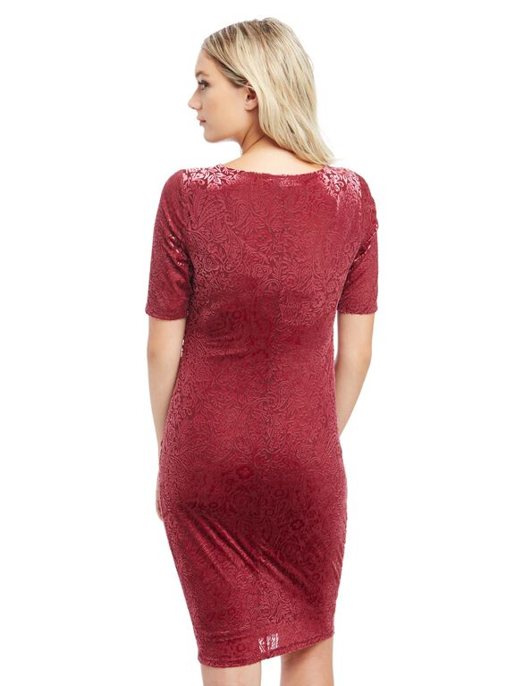 Burnout Velveteen Maternity Dress, Zinfandel