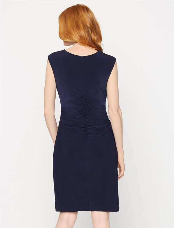 Cap Sleeve Side Ruched Maternity Dress, Navy