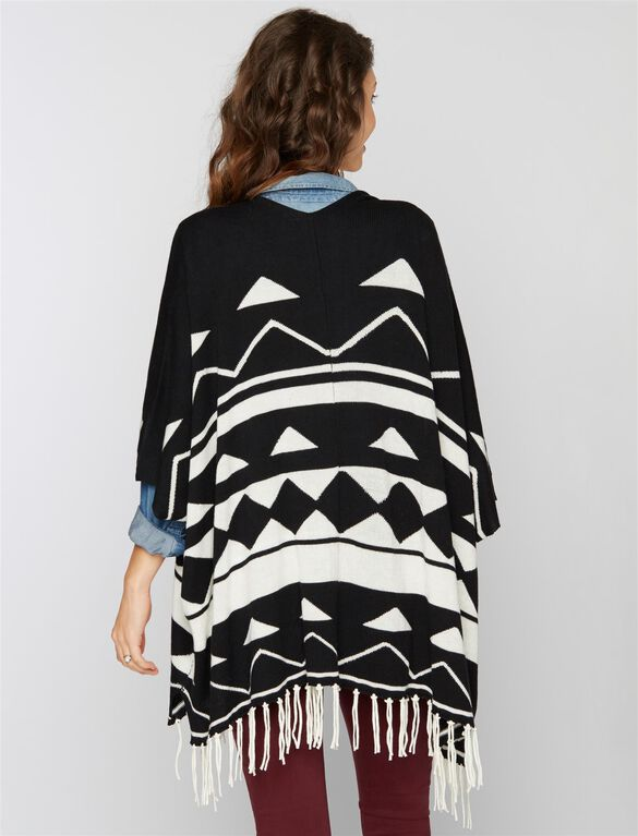 Ella Moss Poncho Maternity Sweater, Black