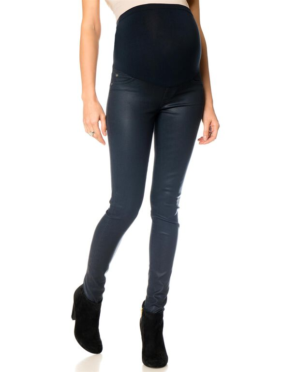 DL1961 Secret Fit Belly Skinny Leg Maternity Jeans, Coated Navy