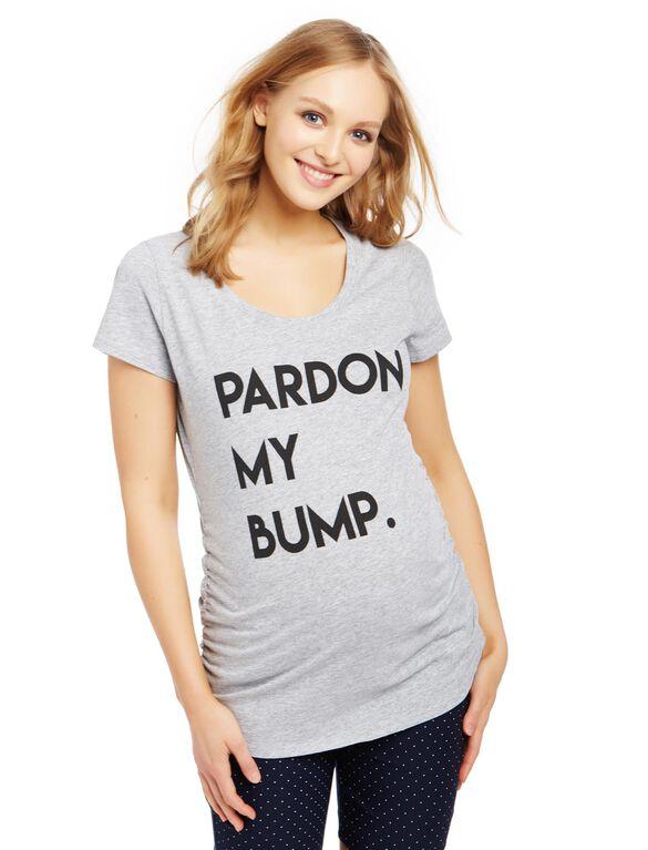 Pardon My Bump Maternity Tee, Grey