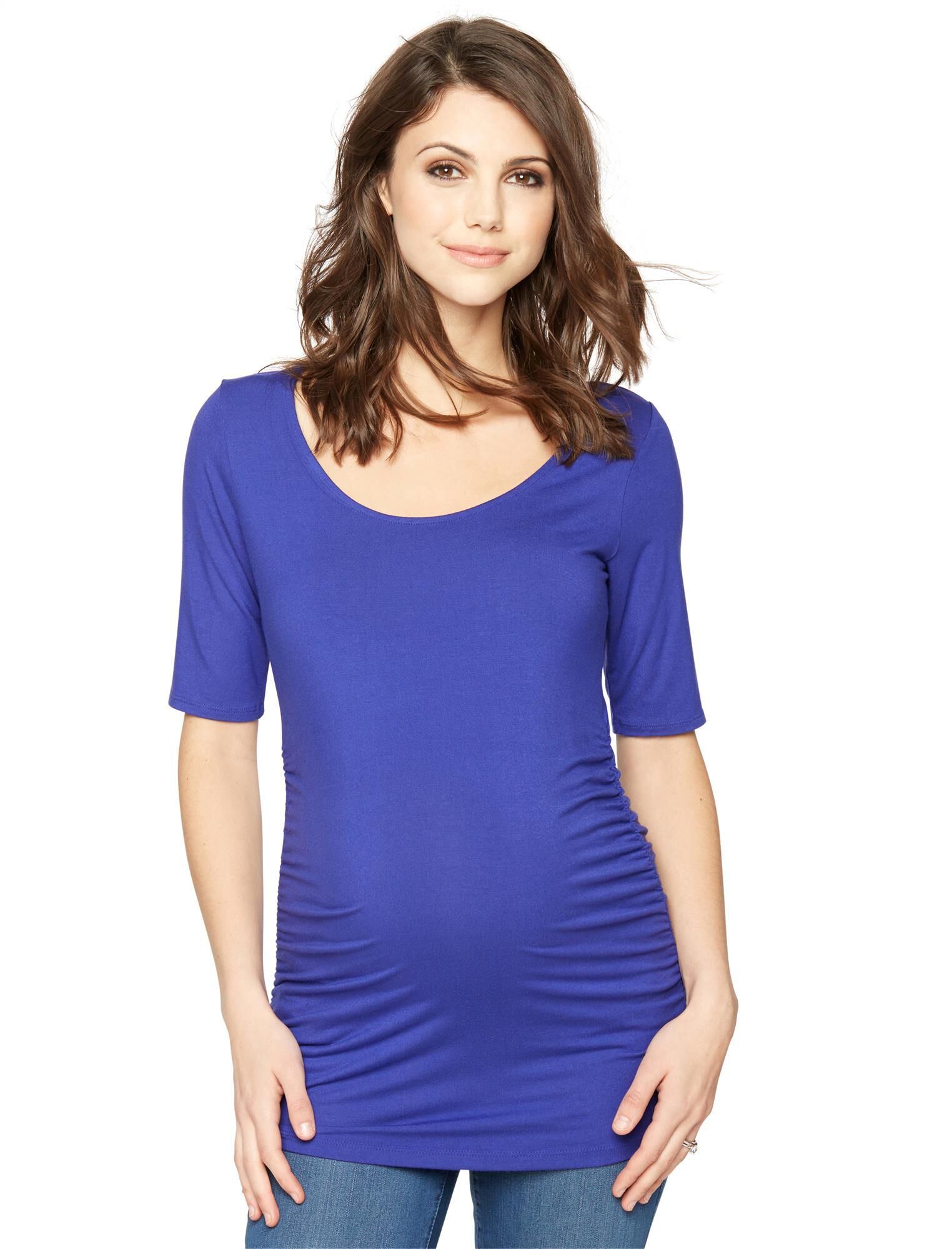 Elbow Sleeve Side Ruched Maternity Tee