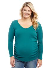 Plus Size Side Ruched Maternity Tee, Teal