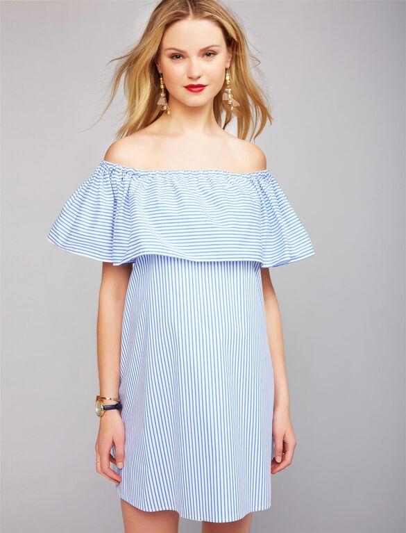 Pietro Brunelli Off The Shoulder Maternity Dress, BLUE