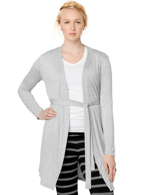 Shirring Detail Nursing Robe, Heather Grey