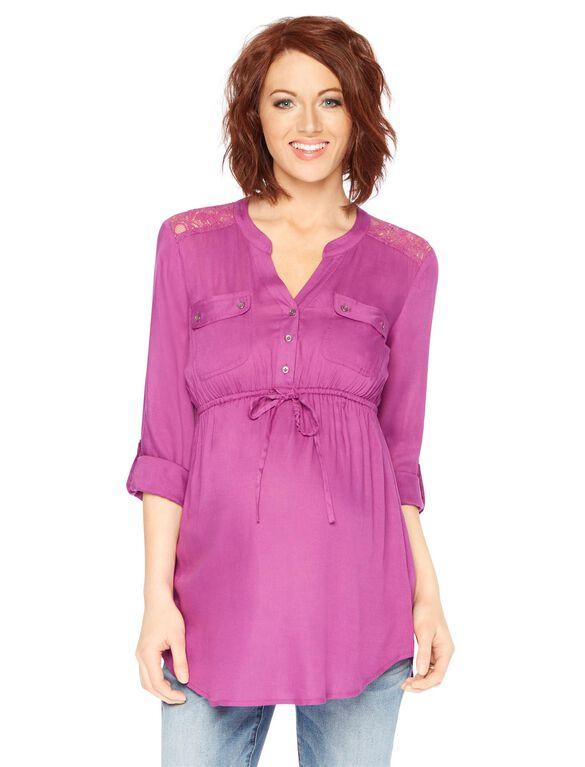 Lace Back Maternity Tunic, Pink