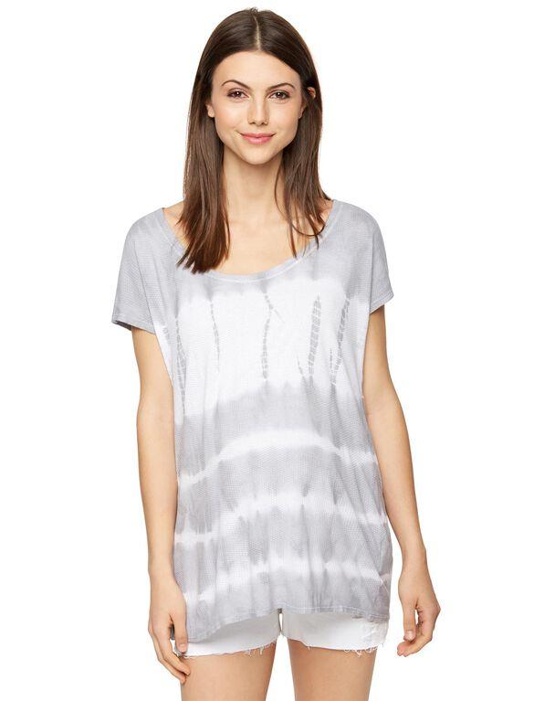 Tye Dye Maternity T Shirt, Grey/Blue Tie Dye